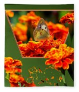Butterfly In A Sea Of Orange Floral 02 Fleece Blanket