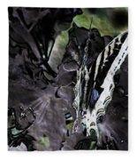 Butterfly In Violet Green And Black Fleece Blanket