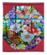 Butterfly Octagon Stained Glass Window Fleece Blanket