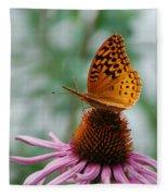 Butterfly On Cornflower Fleece Blanket