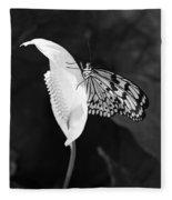 Butterfly On Peace Lilly Fleece Blanket