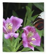 Butterfly On Pink Lillies Fleece Blanket