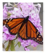 Butterfly On Pink Phlox Fleece Blanket