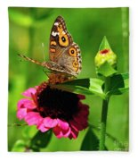 Butterfly On Zinnia Flower 2 Fleece Blanket