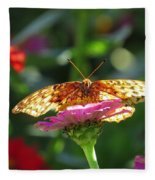 Fritillary Butterfly On Zinnia Fleece Blanket