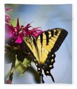 Butterfly Out Of The Blue - Blue Butterfly Art Fleece Blanket