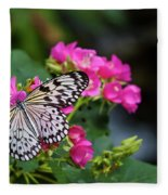 Butterfly Pollinating Flower Fleece Blanket