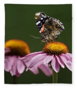 Butterfly Red Admiral On Echinacea Fleece Blanket