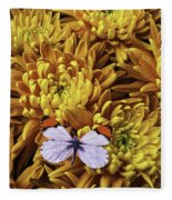 Butterfly Resting On Mums Fleece Blanket