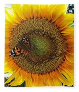 Butterfly Sunflower Fleece Blanket