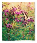 Butterfly Wildflower Fleece Blanket