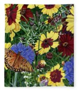 Butterfly Wildflowers Garden Oil Painting Floral Green Blue Orange-2 Fleece Blanket