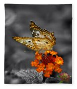 Butterfly Wings Of Sun Light Selective Coloring Black And White Digital Art Fleece Blanket