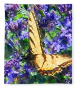 Butterfly With Purple Flowers 3 Fleece Blanket