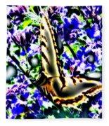 Butterfly With Purple Flowers 4 Fleece Blanket