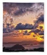 Bvi Sunset   Fleece Blanket