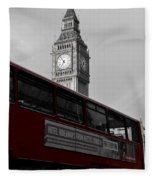 Bw Big Ben And Red London Bus Fleece Blanket