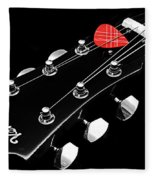 Bw Head Stock With Red Pick  Fleece Blanket
