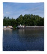 By A Canal Panorama Fleece Blanket