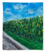 By An Indiana Cornfield The Road Home Fleece Blanket
