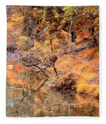 By The Bank Of The Golden Forest Fleece Blanket
