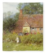 By The Cottage Gate Wc On Paper Fleece Blanket