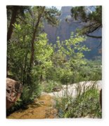 By The Emerald Pools - Zion Np Fleece Blanket