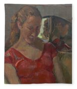 By The Old Mirror, 2009 Oil On Canvas Fleece Blanket