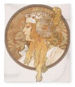 Byzantine Head Of A Blond Maiden Fleece Blanket