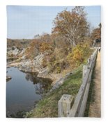 C And O Canal Above And Potomac River Below Fleece Blanket