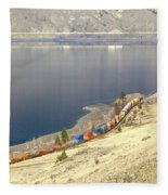 C P R And C N R Freight Trains Fleece Blanket