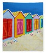Cabana Row - Colorful Beach Cabanas Fleece Blanket
