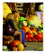 Cabbage Patch Kids - Giant Pumpkins - Marche Atwater Montreal Market Scene Art Carole Spandau Fleece Blanket