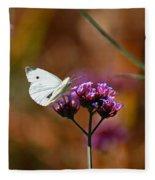 Cabbage White Butterfly In Fall Fleece Blanket