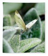 Cabbage White Butterfly In Flight Fleece Blanket