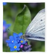 Cabbage White Butterfly On Forget-me-not Fleece Blanket