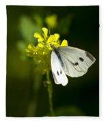 Cabbage White Butterfly On Yellow Flower Fleece Blanket