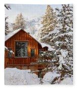 Cabin In Snow Fleece Blanket