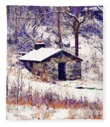 Cabin In The Snow Fleece Blanket