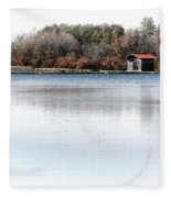 Cabin On A Lake Fleece Blanket