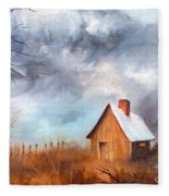 Cabin With Fence Fleece Blanket
