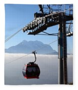 Cable Car Above The Andes Fleece Blanket