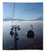 Cable Cars Over La Paz City Fleece Blanket