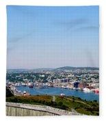 Cabot Tower Overlooking The Port City Of St. John's Fleece Blanket