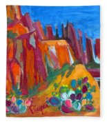 Cacti With Red Rocks And Rr Trestle Fleece Blanket