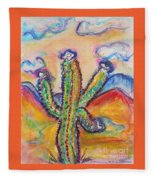 Cactus And Clouds Fleece Blanket