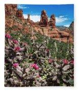 Cactus Flowers And Red Rocks Fleece Blanket