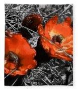 Cactus Flowers Fleece Blanket