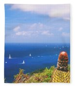 Cactus Overlooking Ocean Fleece Blanket