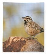 Cactus Wren On Rock Fleece Blanket